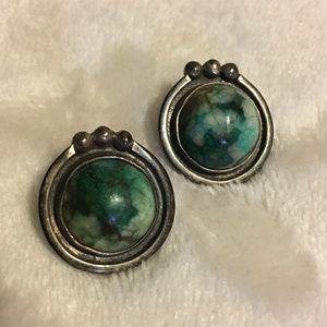 Marked Vintage Green Stones Set in Sterling Silver